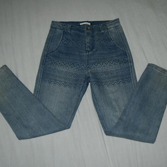 High Waist Aztec Designed Vintage Jeans