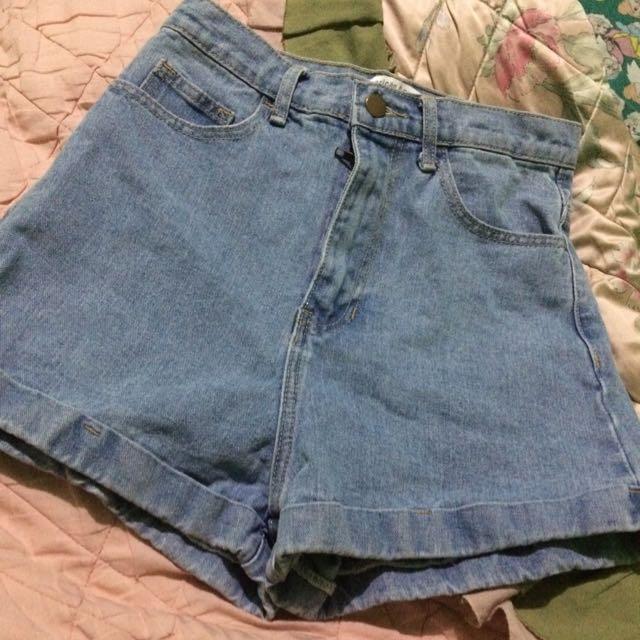 Light Blue High Waist Denim Shorts