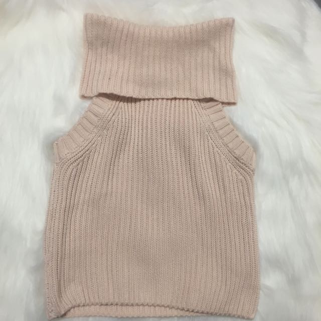 Light Pink Knitted Turtle Neck Top
