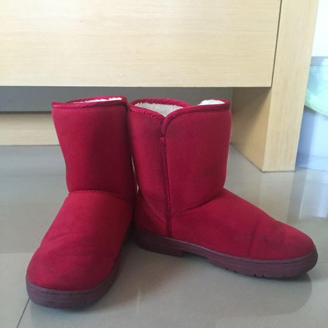 mius紅色短筒雪靴