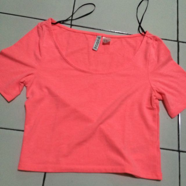 Neon Pink Crop Top by h&m