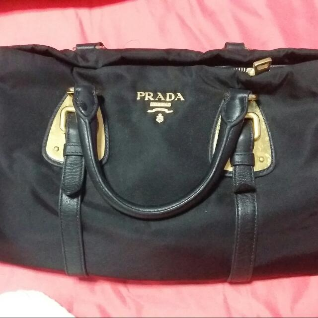 d421603013 Prada BN1903 Tessuto Nylon Top Handle Convertible Bag- Black ...