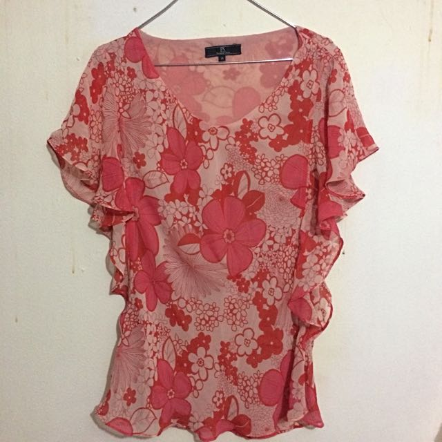 [Preloved) Blouse Chiffon Floral