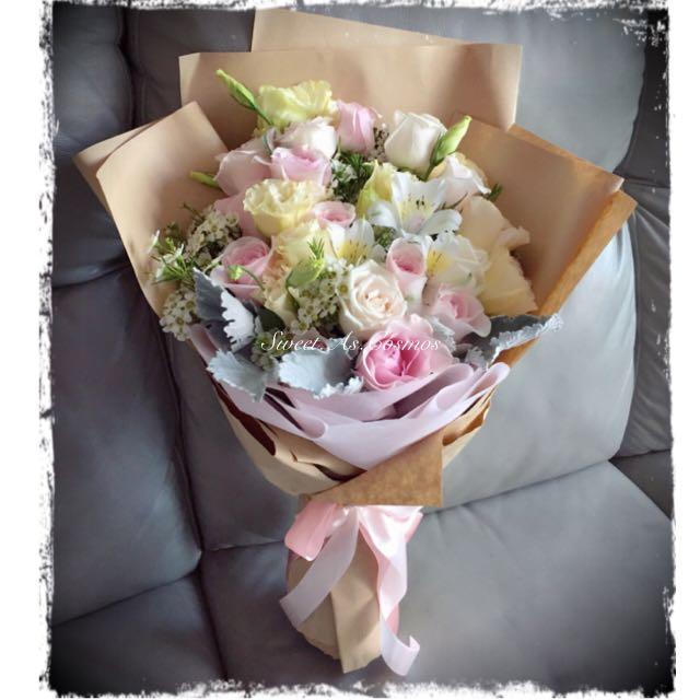 Rustic Fresh Flower Bouquet (Roses, Eustomas, Alstromeria , Wax ...