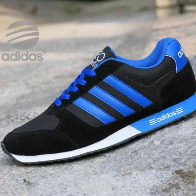 Sepatu Kets Adidas Neo City Racer   Hitam Putih Biru   sport casual olahraga  pria cowok ec36144913