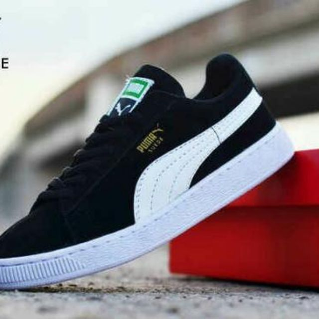Sepatu Puma Suede Classic Import   Hitam Putih   casual kets sneakers kado  cowok cewek e601d1f28f