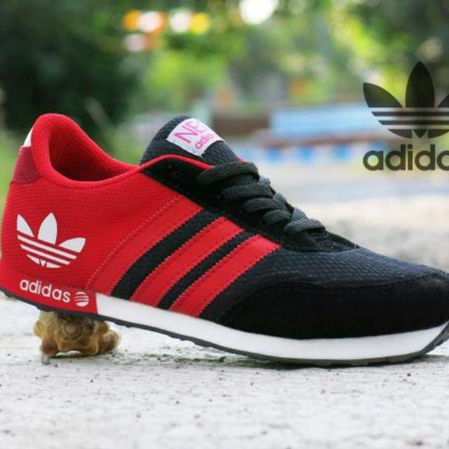 Sepatu Sport Adidas Neo V Racer Grade Ori Merah Hitam   Casual Kets Pria  Cowok 05d6c22003