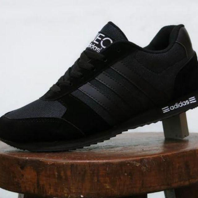 Sepatu Sport Casual Adidas Neo City Racer Full Black Hitam   kets jogging  sekolah pria wanita 21e266d9b1