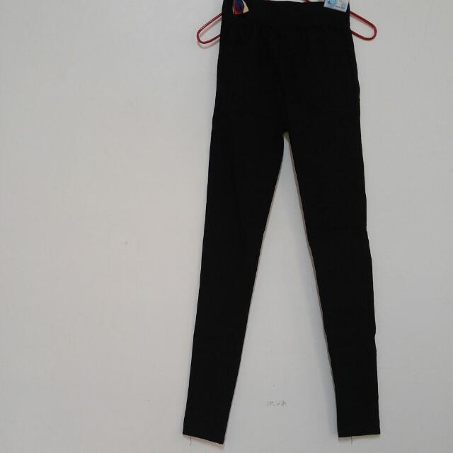 全新黑色素色純色顯瘦長褲skinny