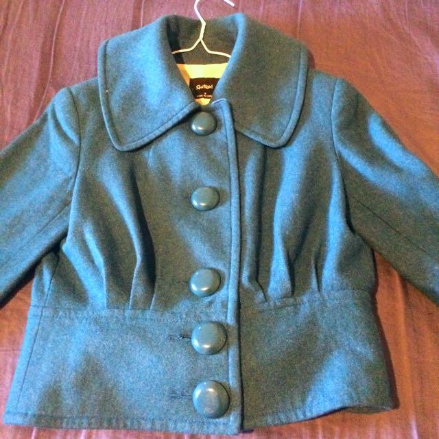 Sportsgirl Jacket Cardigan Coat Crop Blue Green 8 Medium Small