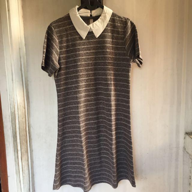 Stripes collar dress brown JA10