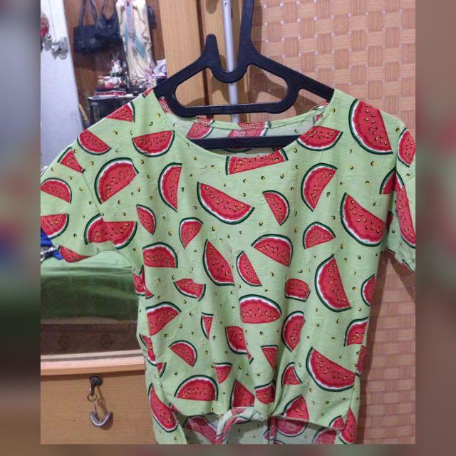 watermelon ripped croptop