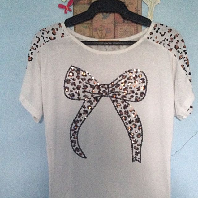 White Blouse With Animal Print Design
