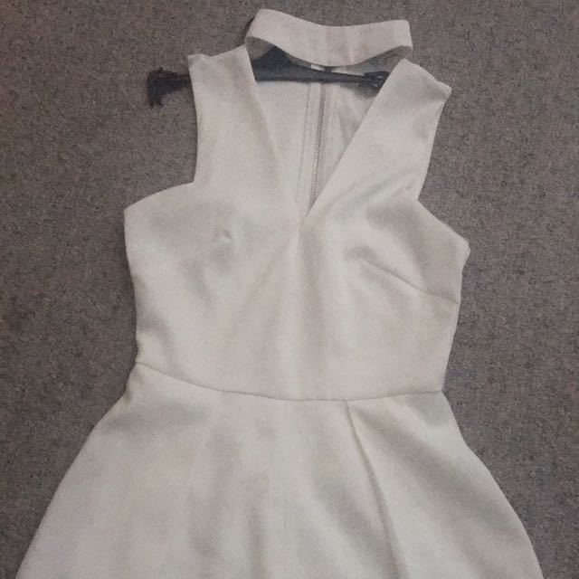White Choker Playsuit- Size 8-