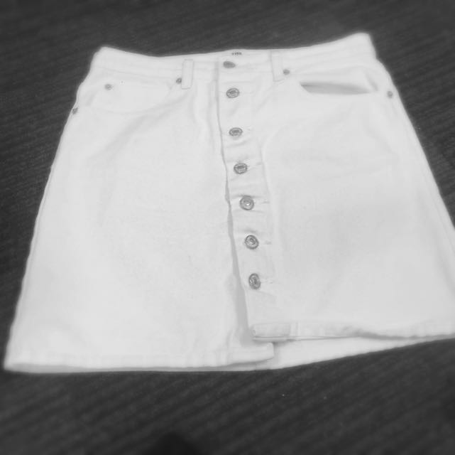 White Denim Skirt Size 10
