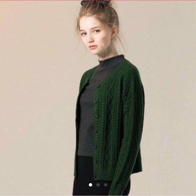 Zara風格綠色毛衣外套