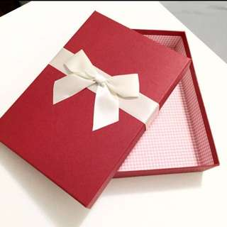 Beautiful Red Gift Box With White Luxury Ribbon