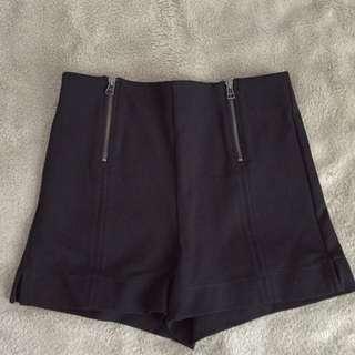 Black Aritzia High Waist Shorts with Zippers