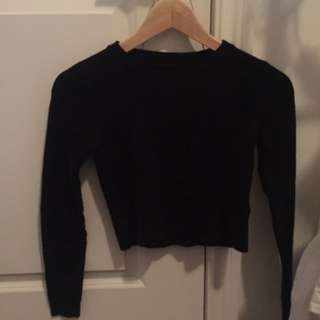 F21 Cropped Black Sweater