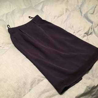 Navy Blue Knee Length Skirt With Lace Details