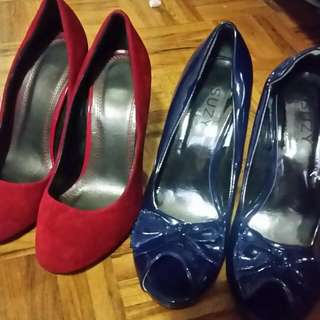 Suzy Shier Blue Patent Lrather Eoth Bow And Red/Black Heels