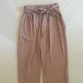 Nude Beige Chiffon Tie Up Pants