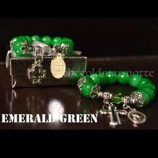 Glass Rosary Bracelet (Emerald Green)