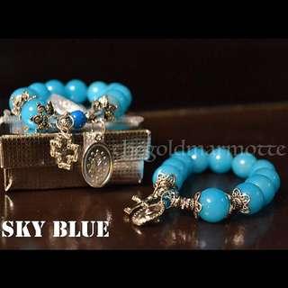 Glass Rosary Bracelet (Sky Blue)