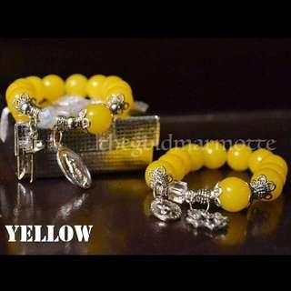 Glass Rosary Bracelet (Yellow)