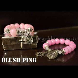 Glass Rosary Bracelet (Blush Pink)