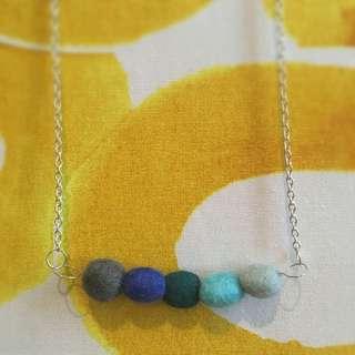 Handmade Artisan Felt Pebble Necklace