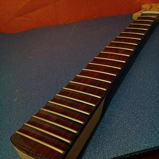 Custom Built 70s F Styled Rev Headstock Scalloped Guitar Neck Rosewood W Black Dot Markers Gloss Finish