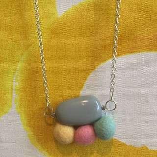 Handmade Artisan Resin And Felt Pebble Necklace