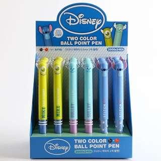 迪士尼史迪奇 毛怪 大眼仔 雙色原子筆