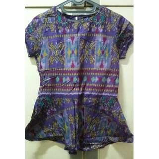 (Preloved) Batik Peplum Top 3