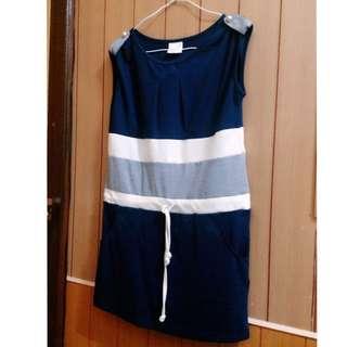 「夏季出清⬇️」條紋氣質束繩顯瘦洋裝