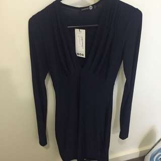 Plunge neck dress navy