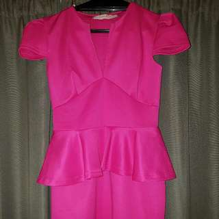 Hot Pink Peplum Dress Size 10