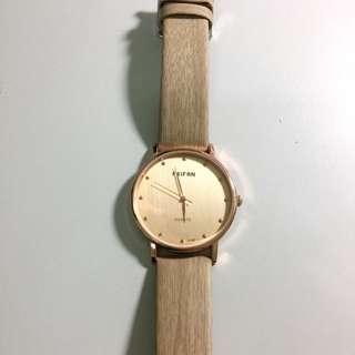 [已保留]質感 髮絲紋手錶 杏色 9.9999999成新