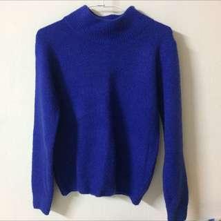 寶藍微高領針織上衣