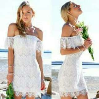 Off-shoulder White Lace Dress With Cut Out Back
