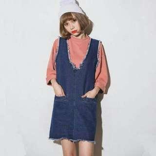 全新 大V領毛邊寬鬆牛仔洋裝裙