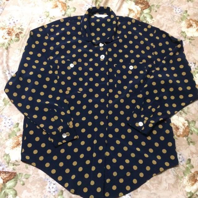 日本製🇯🇵深藍圓點襯衫