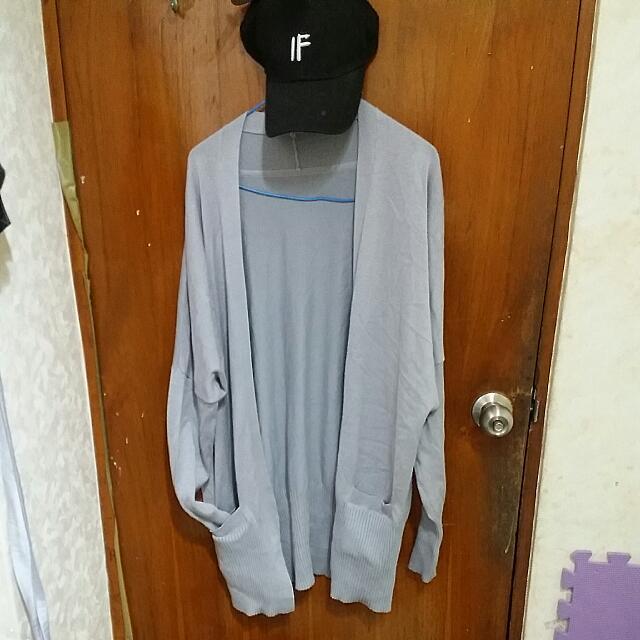 韓版柔軟針織長版灰色外套