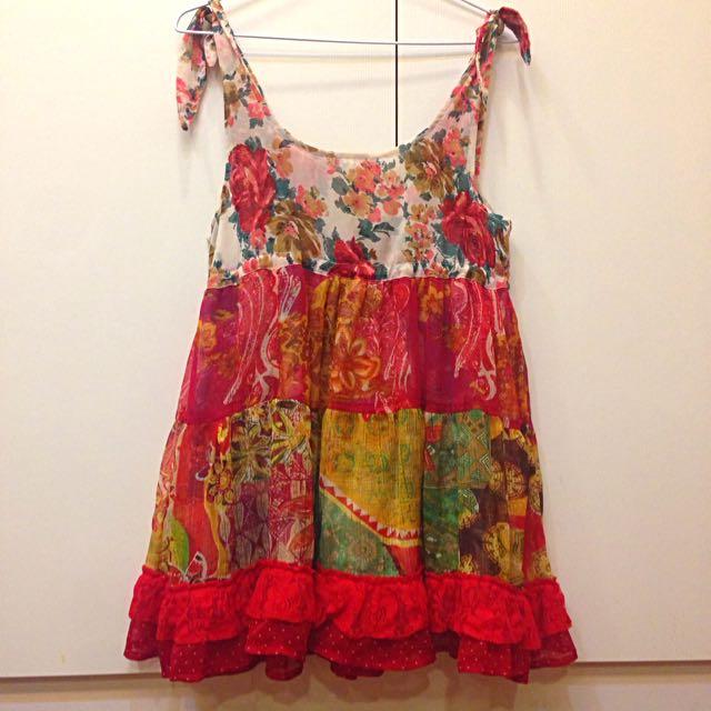 日本🇯🇵手工細肩浪漫小花雙面玫瑰雪紡洋裝 可收腰