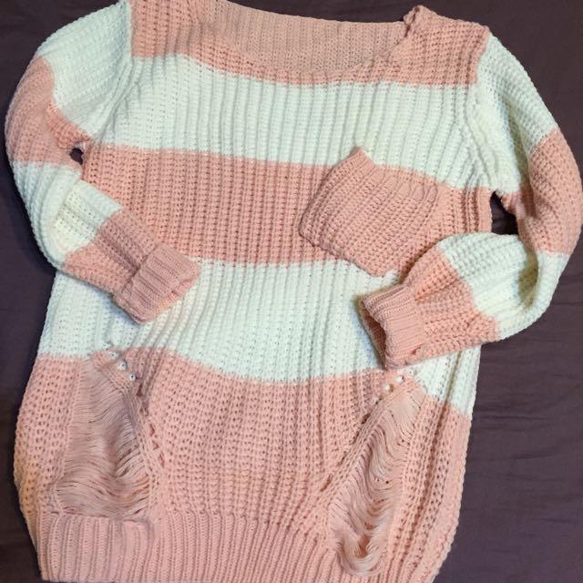 全新🎀粉色條紋 刷破 針織衫