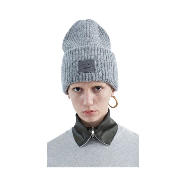 Acne Studios Pansy Wool Inspired Beanie In Dark Grey Melange ... 0f76bcd8fc8