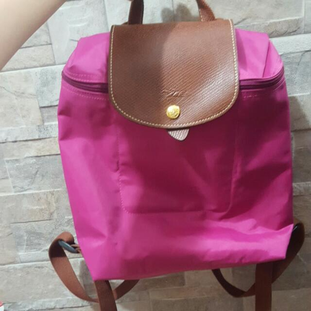 Reprice!! Authentic Longchamp Backpack In Pink!