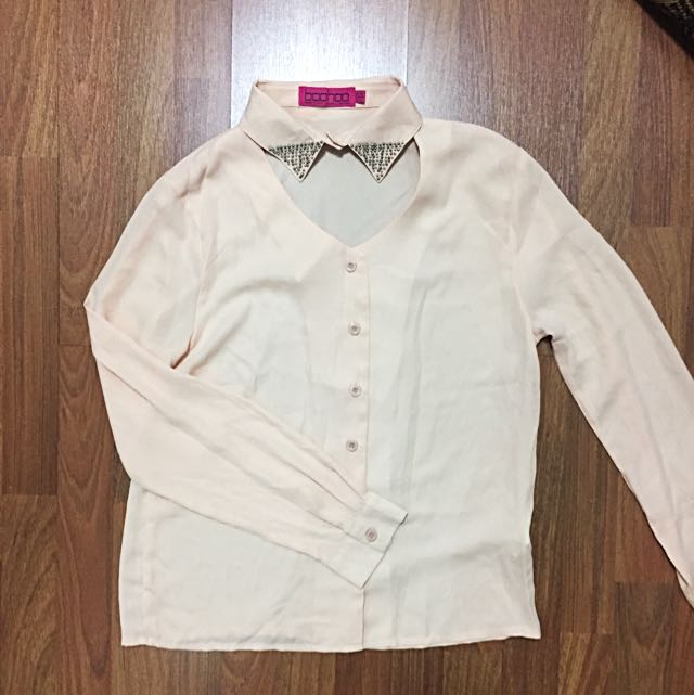 Beige Shirt With Beaded Collar