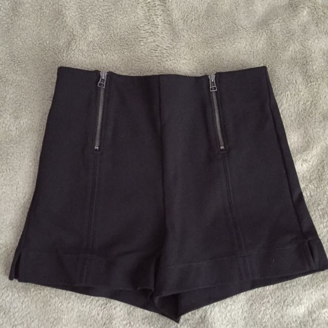 Black Aritzia High Waist Shorts with Zippers